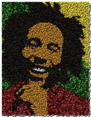 Bob Marley Bottle Cap Mosaic Poster