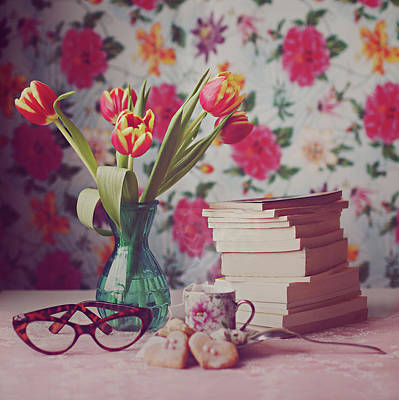 Books And Tulips Poster by Julia Davila-Lampe