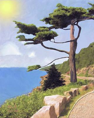 Poster featuring the digital art Boothbay Pine by Richard Stevens