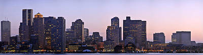 Poster featuring the photograph Boston Skyline At Sunset by Sebastien Coursol