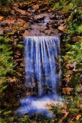 Poster featuring the digital art Botanical Garden Falls by Lynne Jenkins