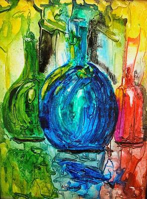 Poster featuring the painting Bottles by Mary Kay Holladay