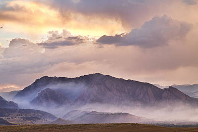 Boulder Colorado Flatirons And The Flagstaff Fire Poster