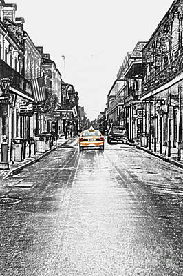 Bourbon St Taxi French Quarter New Orleans Color Splash Black And White Colored Pencil Digital Art Poster by Shawn O'Brien