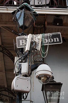 Bourbon Street Sign And Lamp Covered In Beads Poster