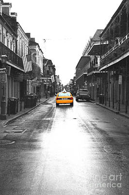 Bourbon Street Taxi French Quarter New Orleans Color Splash Black And White Film Grain Digital Art Poster by Shawn O'Brien