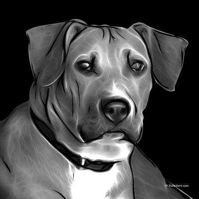 Boxer Pitbull Mix Pop Art - Greyscale Poster