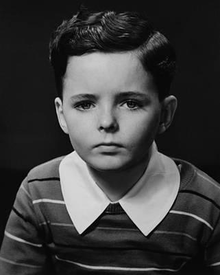Boy (6-7) Posing In Studio, (b&w), Portrait Poster