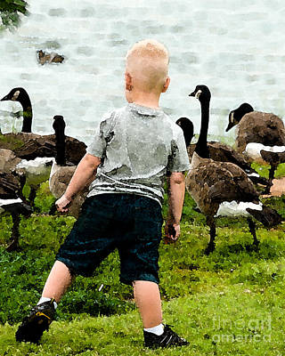 Boy And Geese Poster by Betty LaRue