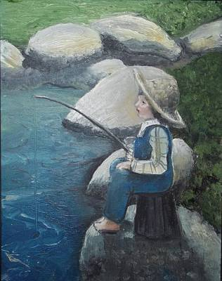 Poster featuring the painting Boy Fishing by Angela Stout