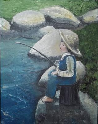Boy Fishing Poster by Angela Stout