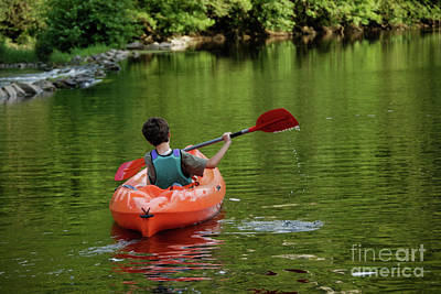 Boy Kayaking In River Poster by Sami Sarkis