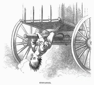 Boy Riding Under Wagon Poster