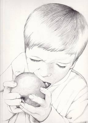 Poster featuring the photograph Boy With Apple by Kelly Hazel