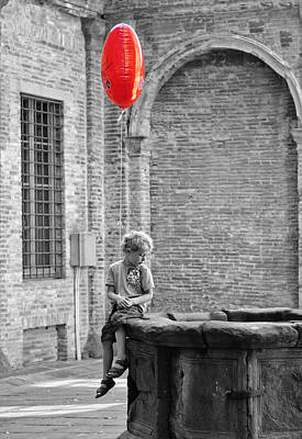 Boy With Red Balloon Poster
