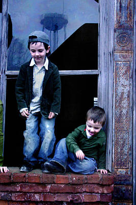 Poster featuring the photograph Boys In A Window by Kelly Hazel