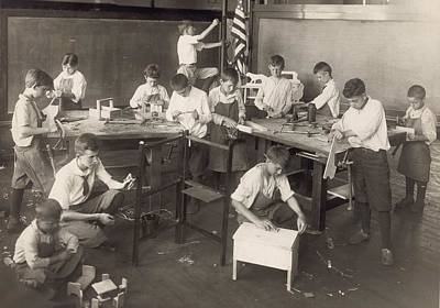 Boys Learn Carpentry In An Open Air Poster