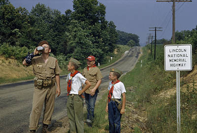 Boys Scouts Hiking Rural Road Watch Poster by William Ralph Gray