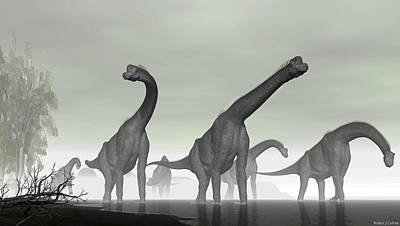 Poster featuring the digital art Brachiosaurus by Walter Colvin