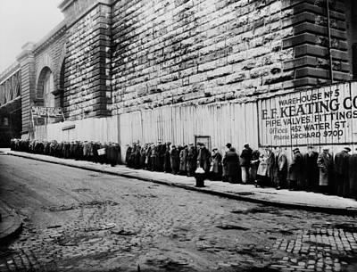 Bread Line Beside The Brooklyn Bridge Poster by Everett