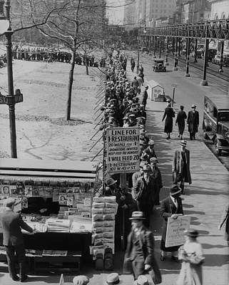 Breadline Along Bryant Park In Mid-town Poster by Everett