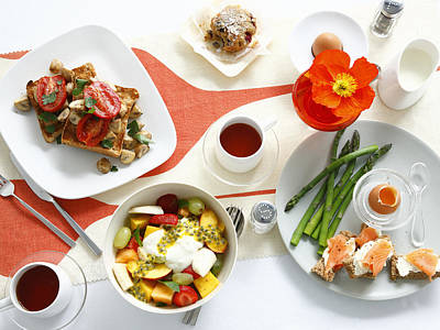 Breakfast Dishes On Table Poster