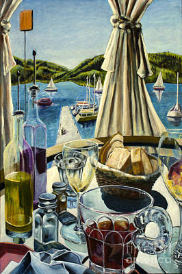 Poster featuring the painting Breakfast In Skradin by AnneKarin Glass