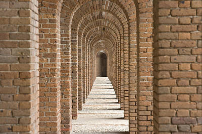 Brick Arches At Fort Jefferson In Dry Poster by Michael Melford