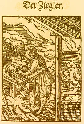 Brick Maker, Medieval Tradesman Poster by Science Source