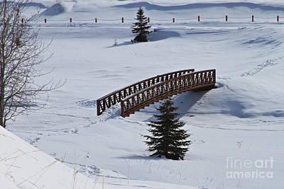 Bridge Over Frozen Water Poster by Rick  Monyahan