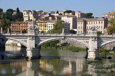 Bridge Ponte Vittorio II. River Tiber.rome Poster by Bernard Jaubert