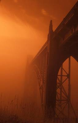 Bridge To The Mist In Red Poster
