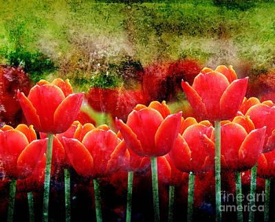 Bright Red Textured Tulip Flower Poster by Angela Waye