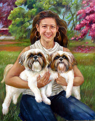 Poster featuring the painting Brittany And Her Shih Tzusu by Nancy Tilles