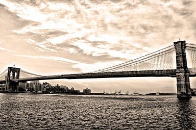 Brooklyn Bridge In Sepia Poster by Bill Cannon