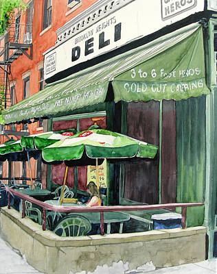Poster featuring the painting Brooklyn Heights Deli by Tom Riggs