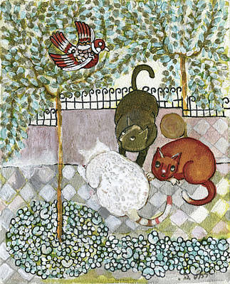 Brown And White Alley Cats Consider Catching A Bird In The Green Garden Poster