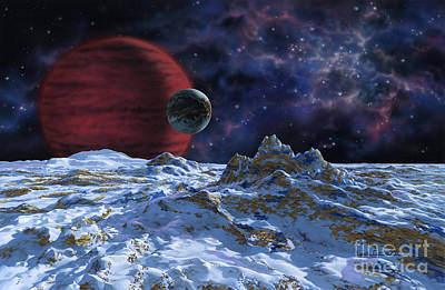 Brown Dwarf With Planet And Moon Poster by Lynette Cook