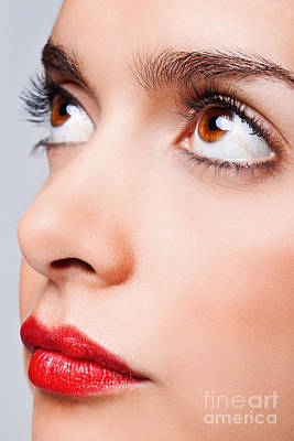 Brown Eyes And Red Lips Poster by Richard Thomas