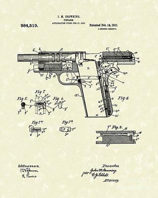 Browning Handgun 1911 Patent Art Poster by Prior Art Design