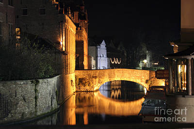 Poster featuring the photograph Bruge Night by Milena Boeva