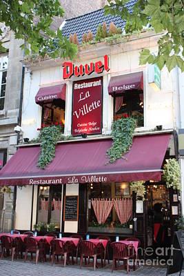 Brussels - Restaurant La Villette With Trees Poster by Carol Groenen
