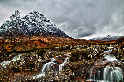 Buachaille Etive Mor With Waterfalls Poster by Fiona Messenger