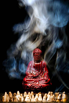 Buddha In Smoke Poster by Olivier Le Queinec