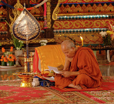 Buddhist Monk Laos Poster by Bob Christopher