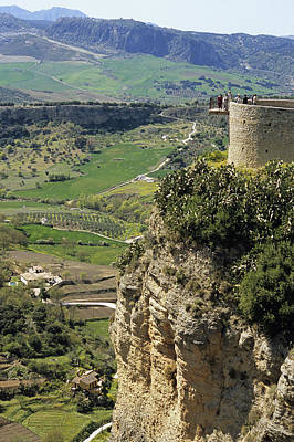 Building On Outcrop With Countryside Beyond, Ronda, Andalucia, Spain, Europe Poster