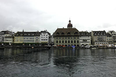 Buildings And River Reuss In Lucerne In Switzerland Poster by Ashish Agarwal