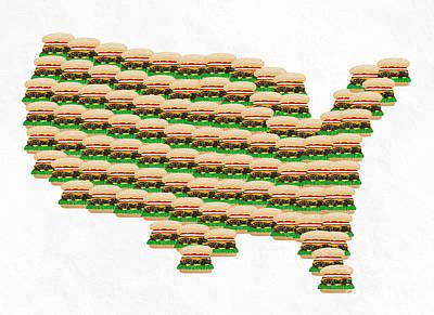 Burger Town Usa Map White Poster