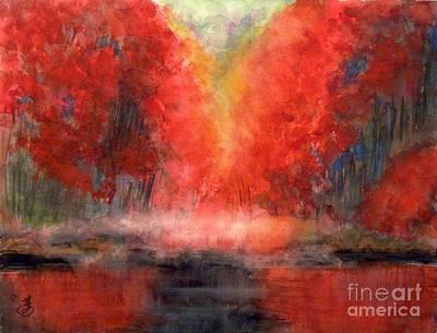 Burning Lake Poster by Yoshiko Mishina