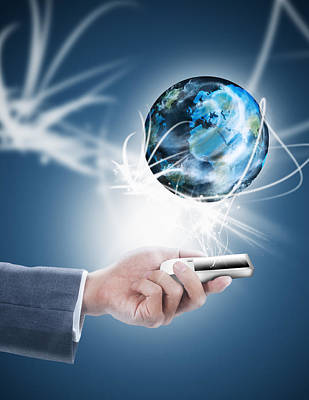 Businessman Holding Mobile Phone With Globe Poster